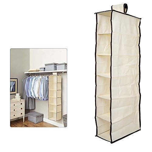 TOP-MAX Wardrobe Closet Hanging Storage Coat Sweater Clothes Garment Closet Organizer Space Saving Beige 6 Units