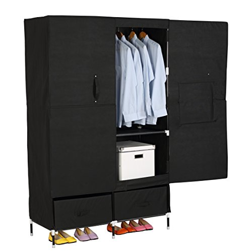 WOLTU Portable Clothes Closet Wardrobe Storage with 2 drawer Cloth Organizer with Magnet Doors Steel Shoe Rack 6 Shelves Black