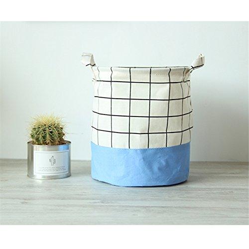Yiliag Plaid Design Storage Laundry Hamper Dirty Clothes Laundry Basket Bag Nursery Laundry Bin-Blue
