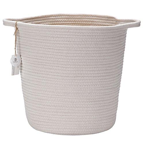 Sea Team 138H x 102D Natural Cotton Thread Woven Rope Storage Basket Bin Hamper with Handles for Nursery Kids Room Storage Tall White