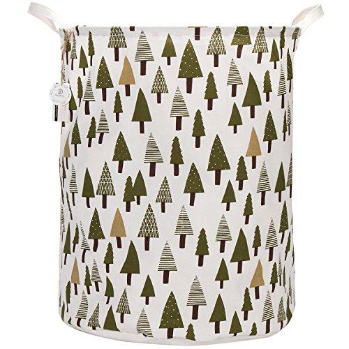 Sea Team 217 Oversize Linen Cotton Fabric Folding Nursery Laundry Hamper Bucket Cylindric Burlap Canvas Storage Basket with Waterproof PE Coating Lining Tree