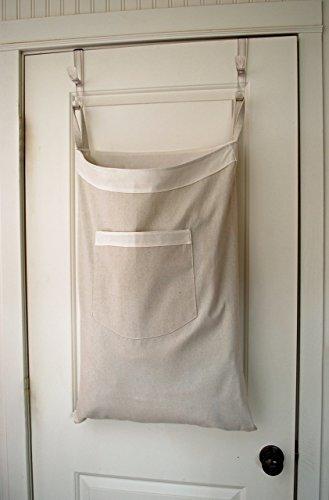 Hanging Hamper Laundry Bag -- Drawstring Bag with Shoulder Strap -- Canvas -- White Trim