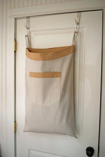 Hanging Hamper Laundry Bag -- Drawstring Bag with Shoulder Strap -- Natural Canvas Tan Trim