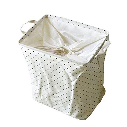 Yiuswoy Rectangular Cotton Fabric Laundry Hamper OrganizerPop Up Toy Basket With Drawstring CoverStorage BasketsClothes StorageToy Storage Organizer Bins - Polka Dots