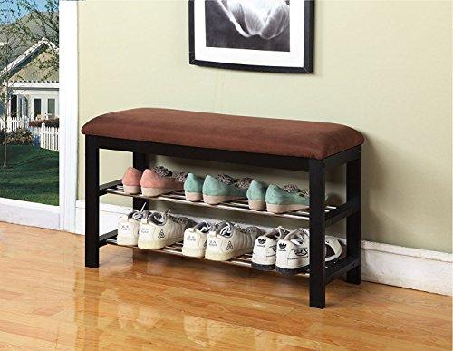 Black  Chocolate Micro Fabric Shoe Rack Storage Organizer Hallway Bench