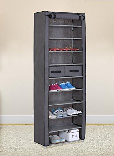 Grey 10 Tiers Shoe Rack with Dustproof Cover Closet Shoe Storage Cabinet Organizer