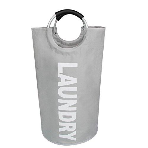 Foldable Laundry Hamper Tote Storage Baskets Laundry Bag Heavy Duty Washing Clothing Bags Gray
