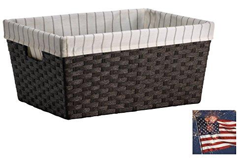 Baskets for storage Wicker basket Laundry Baskets Shelf baskets Basket for toys - Large Lined Basket - Dark Brown Weave - Threshold