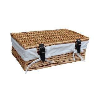 Empty Wicker Rectangular Gift White Lined Basket