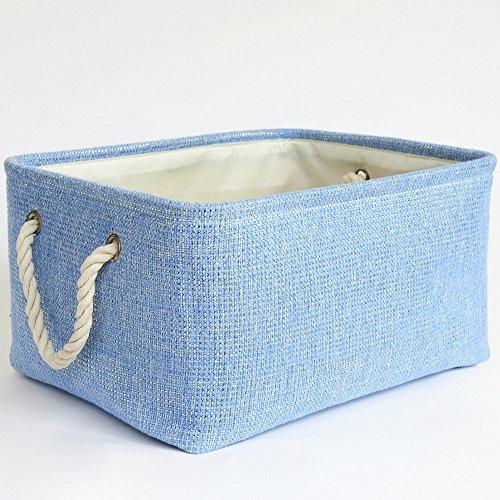 TheWarmHome Blue Basket Rectangular Lined Storage Basket for Baby Toy BasketDecorative Fabric BinToy Storage BinBedroom Storage157×118×83inch
