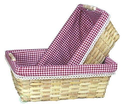 VintiquewiseTM Gingham Lined Baskets Set of 2 by Vintiquewise