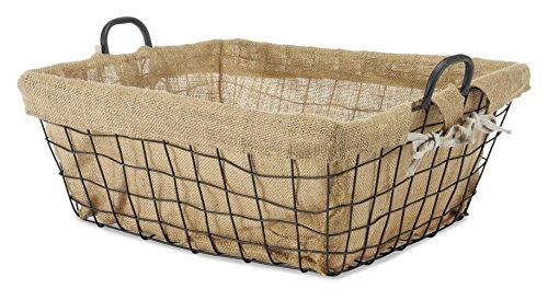 Whitmor Burlap Lined Basket wHandles