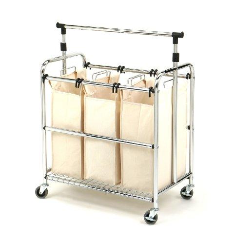 Seville Classics Mobile 3-Bag Reinforced Heavy-Duty Laundry Hamper Sorter Cart w Clothes Rack