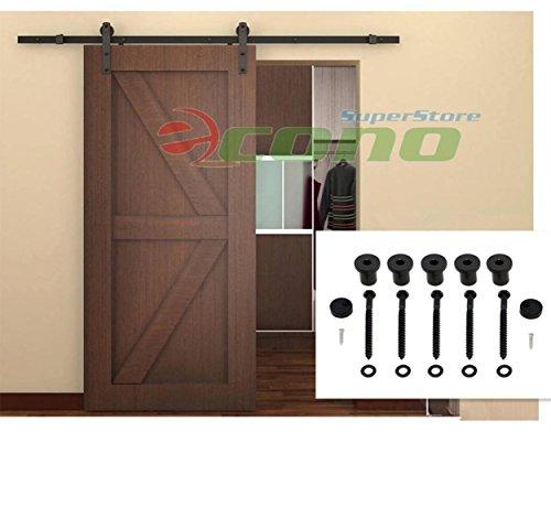 6Ft Sliding Door Closet Hardware Track Set 72 Rail Modern Style Black Barn Wood