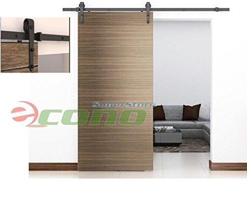 6ft Modern Style Black Barn Wood Sliding Door Closet Hardware Track Set 72 Rail