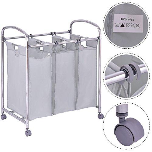 Laundry Cart Basket Triple Bag Sorter Bathroom Hamper Bins Clothes Storage New
