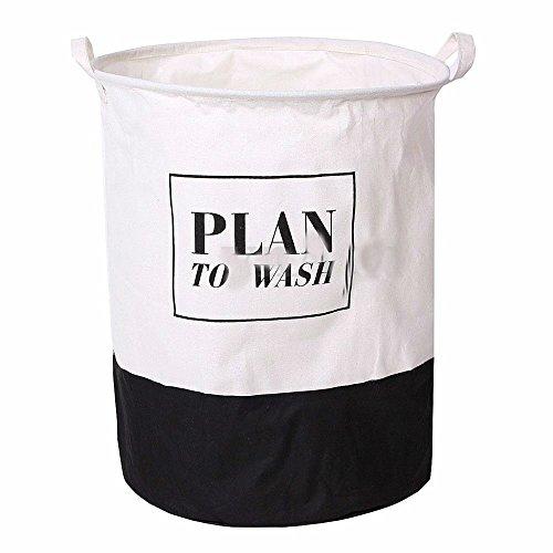 PLAN TO WASH - Folding Cotton Washing Clothes Laundry Basket Hamper Sotrage Bag Sorter Organize