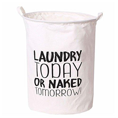 TODAY - Folding Cotton Washing Clothes Laundry Basket Hamper Sotrage Bag Sorter Organize