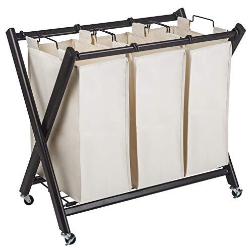GreenWay Deluxe Steel Triple Laundry Sorter