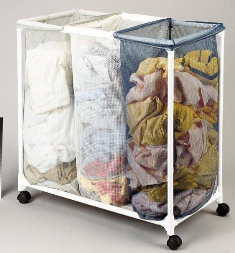 Homz Triple Laundry Sorter 3075 W X 165 D X 305 H Plastic Frame Boxed