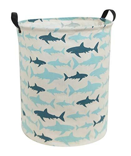 HIYAGON Canvas Storage BasketLarge Laundry Hamper with Handles-Collapsible Storage Bin for Kids RoomNersury HamperToy Storage 197×157 Blue Shark