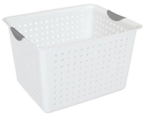 Sterilite 16288006 Deep Ultra Basket White Basket w Titanium Inserts 6-Pack