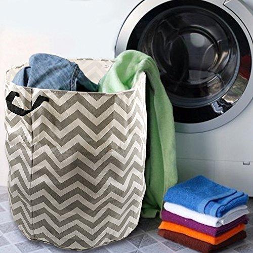 Amerzam 185 x 169 Foldable Laundry Basket Round Cotton Linen Collapsible Laundry Hamper Storage Basket Bag with Strap Handle Gray Stripe