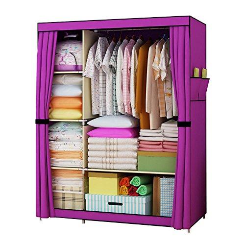 FKUO Large Wardrobe Closet furniture Non-woven Fabric Steel frame reinforcement Standing Storage Organizer Detachable Clothing Closet purple