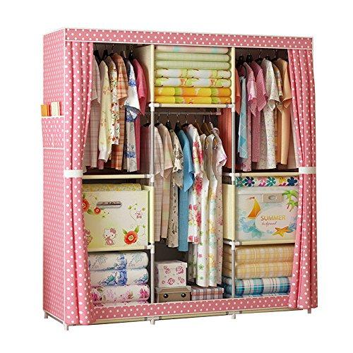 FKUO Large Wardrobe Closet furniture Portable Non-woven Fabric wardrobe Standing Storage Organizer Detachable and Lightweight Clothing Closet pink