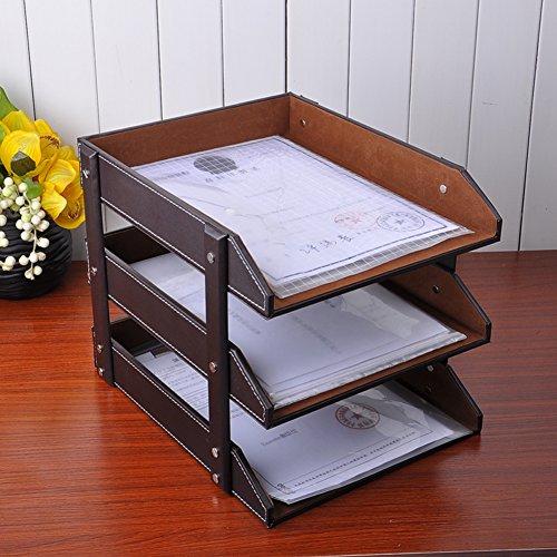 leather fileCreative desktop file box information Office multi-layer storage rack-A
