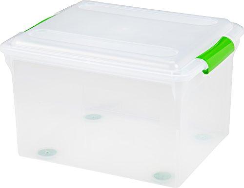 IRIS 34 Quart Store And Slide File Box-Green Handle Clear
