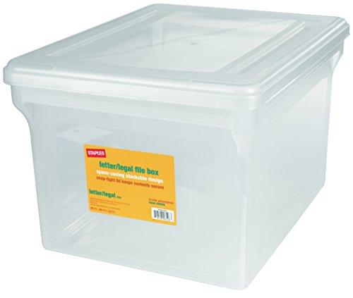 Staples LetterLegal File Box Clear