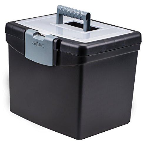 Storex Portable File Box 1088 x 1325 x 11 Inches Black STX61504U01C