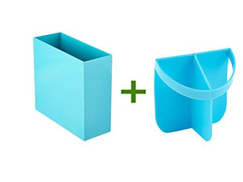 Aqua Poppin Hanging File Box Urbio Shorty Insert Blue