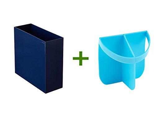 Navy Poppin Hanging File Box Urbio Shorty Insert Blue