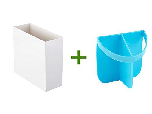 White Poppin Hanging File Box Urbio Shorty Insert Blue