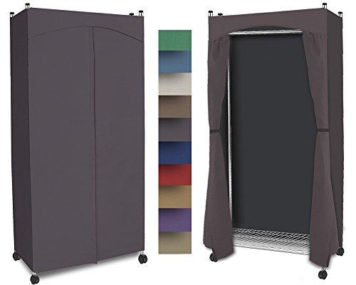 Portable Wardrobe Closet w Premium Cotton CanvasDuck Cover 72-75Hx36Wx18D Steel Gray