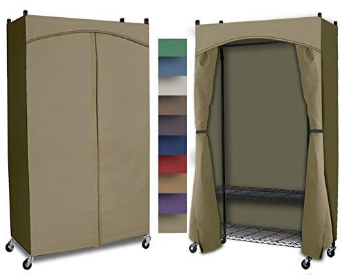 Portable Wardrobe Full Rod w Premium Cotton CanvasDuck Cover 72-75Hx48Wx18D Khaki