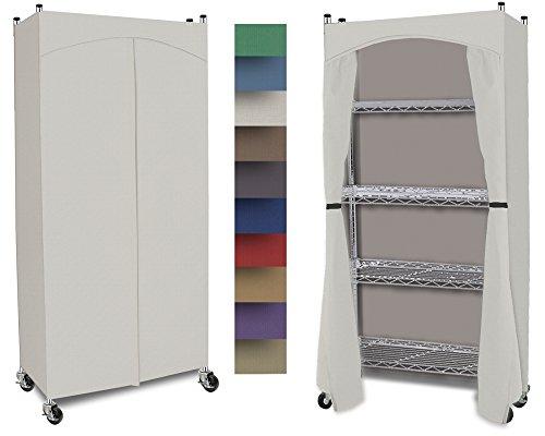 Wardrobe 5-Shelf Closet w Premium Cotton CanvasDuck Cover 72-75Hx36Wx18D Cream