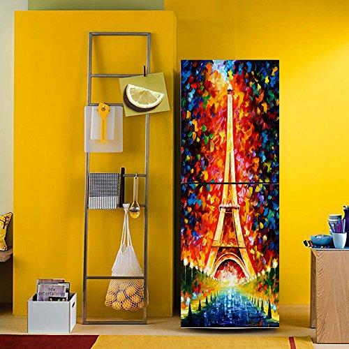 yazi Fridge Sticker Hallway Door Mural Paris Eiffel Tower Customized Removable Wardrobe Cover Home Wall Decal 23x70 Inch
