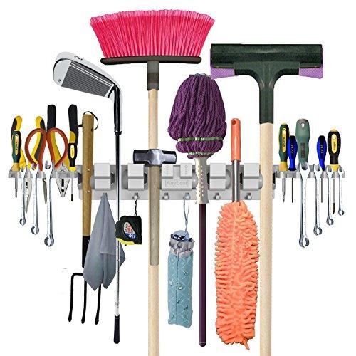 Anybest Patented Design Utility Mop Broom Holders Wall-Mounted Garden Tool Rack Garage Storage Organization Hangers 6 Positions 6 Hooks 2-Tool Platforms