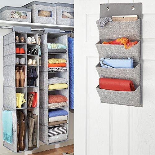 InterDesign Aldo Fabric Closet Storage Organization Starter Set for Bedroom Laundry Room Hallway – 6 Pieces Gray