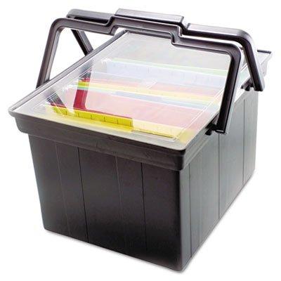 Companion Portable File Storage Box LegalLetter Plastic Black Sold as 1 Each