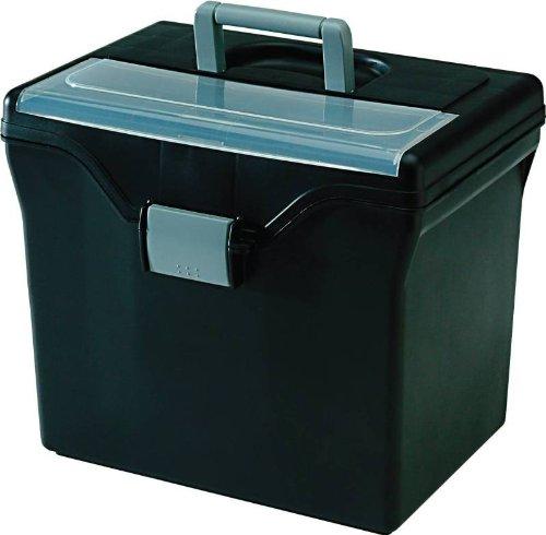 IRiS Portable File Box with Organizer Lid 11-12 X 13-13 X 10 in BlackBlue Each