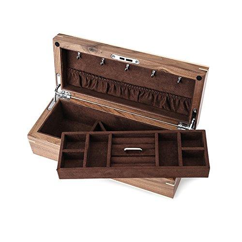 Black Walnut wood jewelry box Emerald jewelry box double locking storage box-A