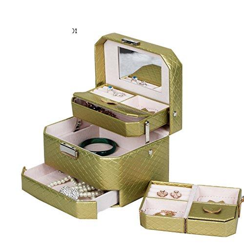 fashion leather jewelry boxmulti-jewelry boxEuropean-style locking Storage boxes jewelry boxes-D