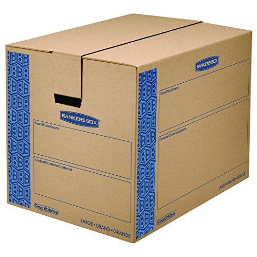 Bankers Box SmoothMove Prime Moving Boxes Tape-Free and Fast-Fold Assembly Large 24 x 18 x 18 Inches 6 Pack 0062901