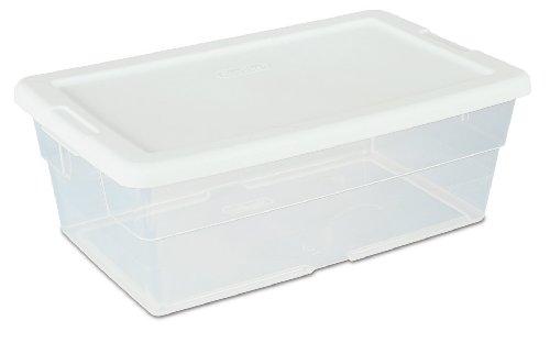 Sterilite 16428012 6 Quart57 Liter Storage Box White Lid with Clear Base 12-Pack