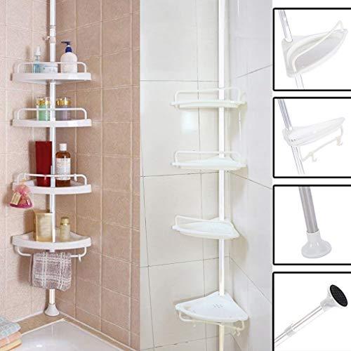 Heberry Telescopic Bathroom Shelf Shower Corner Element Compact Caddy Holder Corner Rack Shelf Organizer Accessoryfor Shower CubicleBathtub CornerBathroom