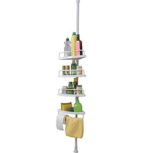 Pinleg 4-Tier White Tension Bathroom Corner Rack Shelf Bath Shower Bathroom Bathtub Shower Caddy Holder Corner Rack Shelf Organizer Accessory Height Adjustable